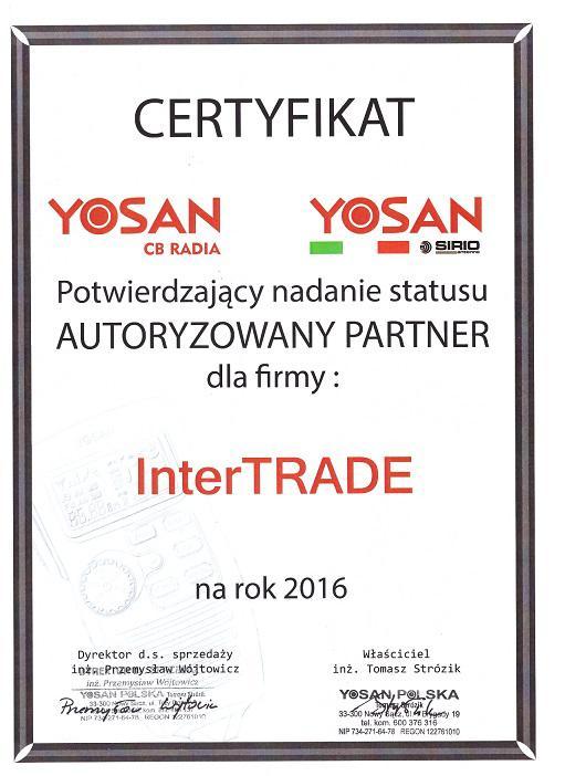 Certyfikat Yosan Polska 2016